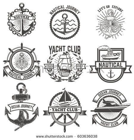 Set of yacht club labels. Nautical. Design elements for logo, label, emblem, sign, t-shirt. Vector illustration.