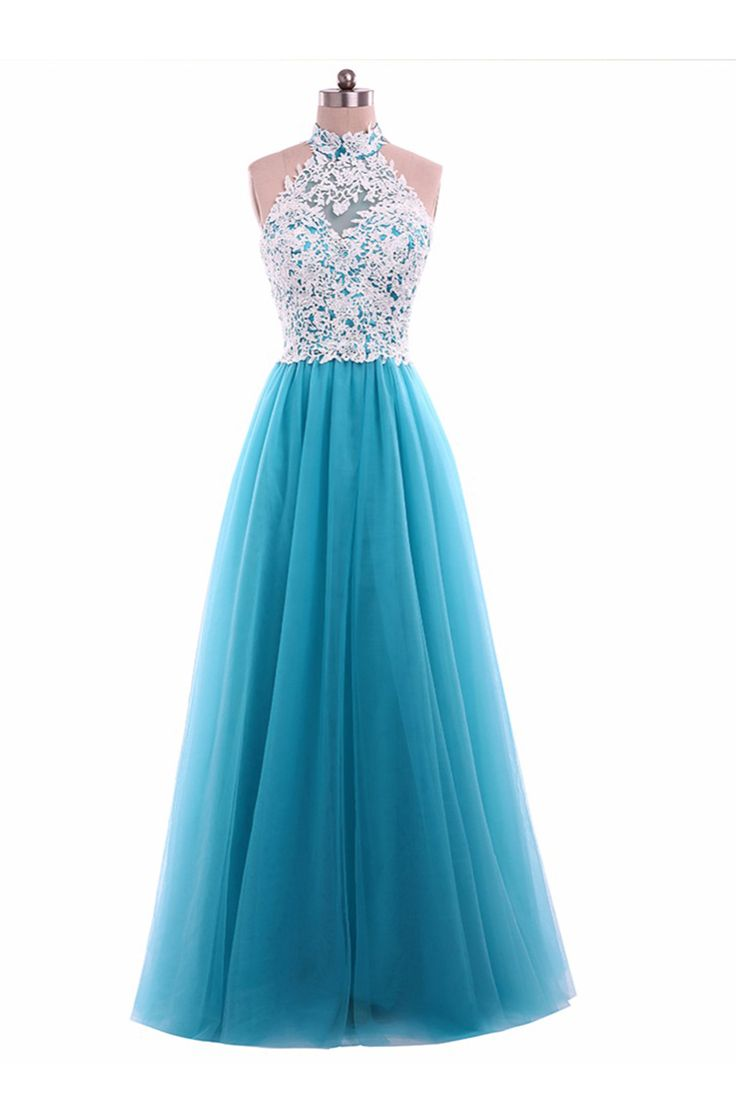 New white lace long A-line senior blue prom dress, halter prom dress