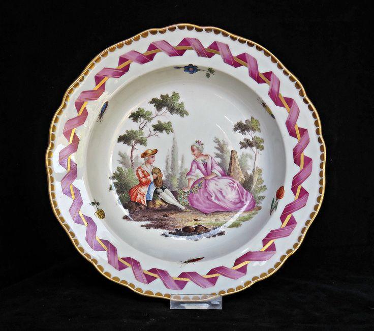 Superb Meissen Porcelain Bowl Painted Romantic Couple Flowers Insects 19th C   eBay