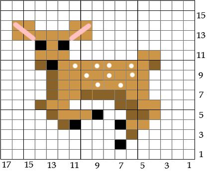 Small deer chart for cross stitch, knitting, knotting, beading, weaving, pixel art, and other crafting projects.