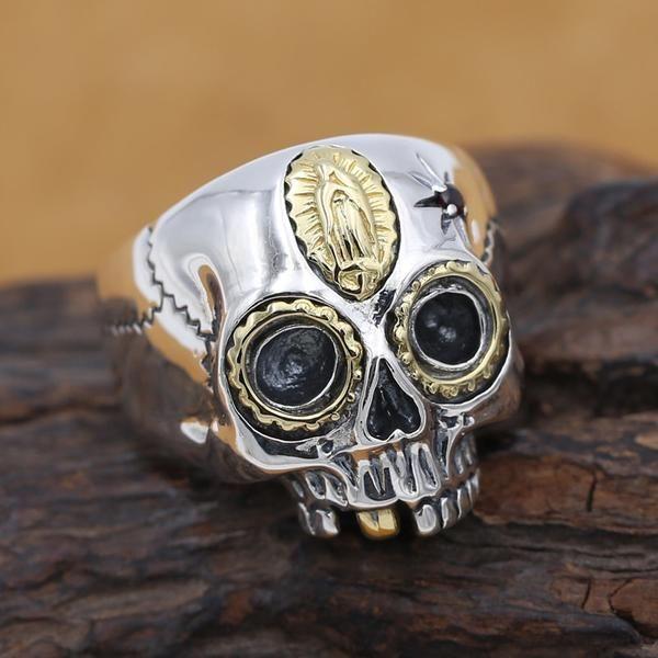 Silver ring skull ring Open adjustable ring Adjustable Silver ring,Skeleton ring Skull Sterling silver ring skull jewelry,