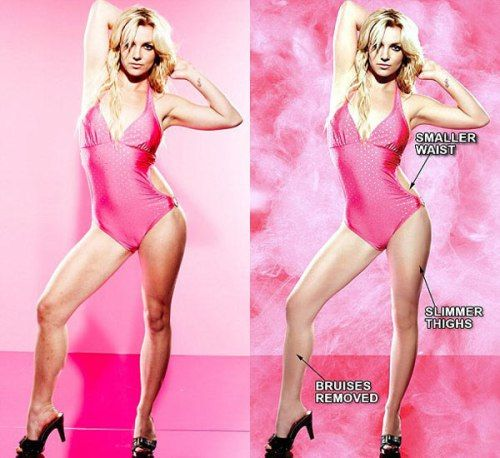 """Britney Spears look great but in this side-by-side comparison, the photo editors made a number of changes to her physique. They removed bruises on her legs, slimmed down her thighs, smoothed out her legs, and gave her a smaller waist."" Celebrity Images We Know Were Photoshopped - Page 21 of 23 - Wizzed"