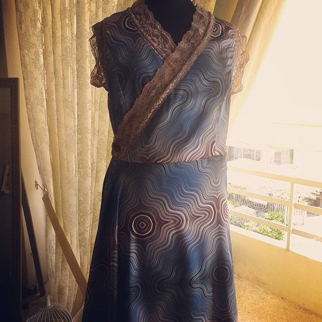Beautiful wrap dress just arrived! In blue-brown colours satin and light brown lace details, size M  #twistandchic #dress #springsummer2017