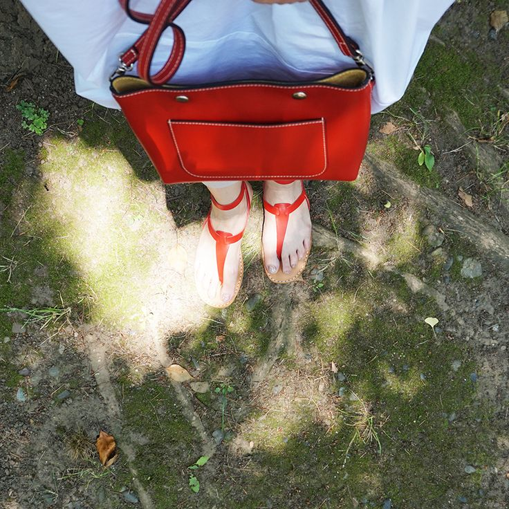 #red #nappa #leather #bag by #stevemono and #red #leather #summer #sandals by #vialis
