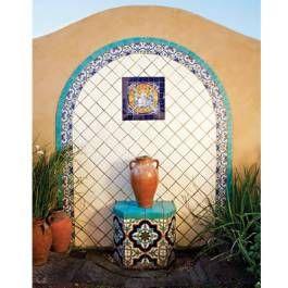 Mexican tiled mural fountain