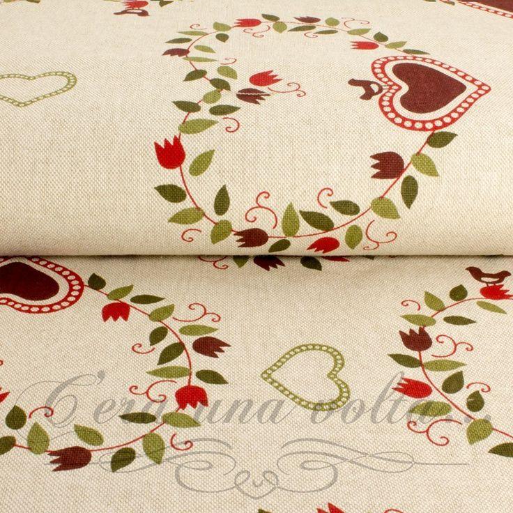 Tessuto a Cuori stile Country StampaCuore con bordo floreale ColoreBase Naturale StampaFiori Rossi e Foglie verdiMateriale100% cotone di lino Altezza pezza2,80 metri Pesantezzamedia