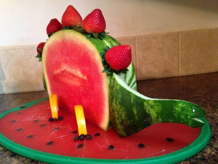 watermelon carving Dinosaur!