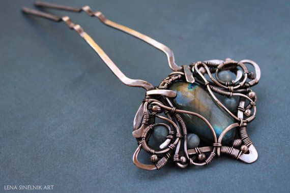 Wire wrap HAIRPIN Copper comb Hairpin by LenaSinelnikArt on Etsy