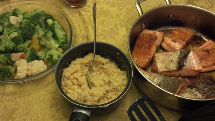 Two-step salmon, couscous, and steamed vegetables...a meal in under 30 minutes
