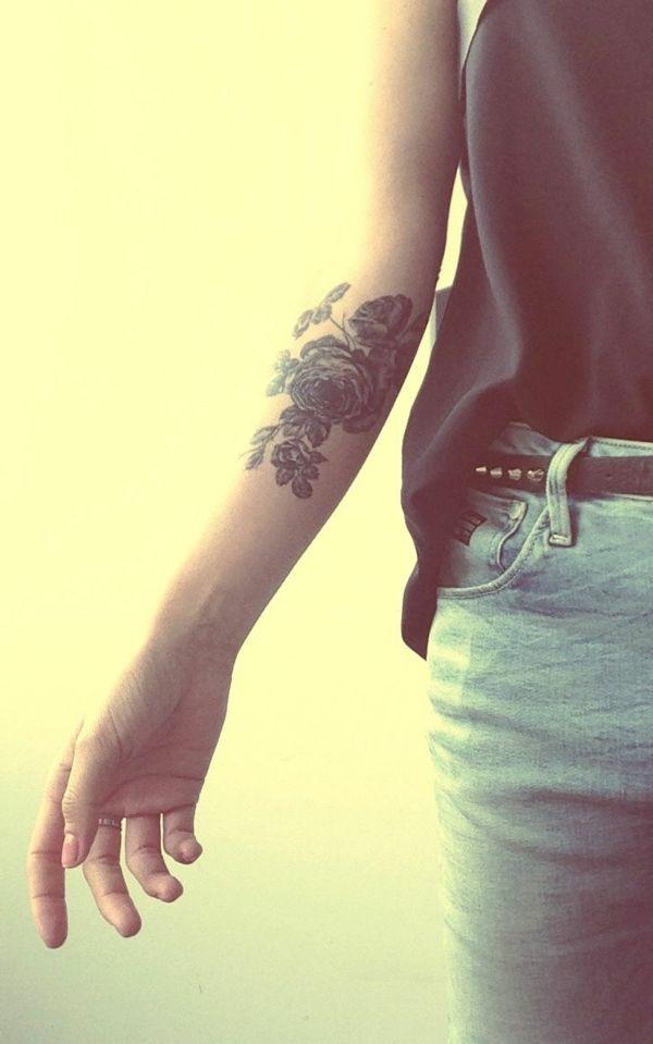 Die besten 25 rose tattoo unterarm ideen auf pinterest rosen tattoo auf unterarm rote rosen - Tattoo ideen arm ...
