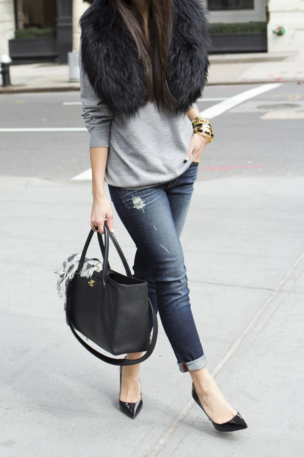 Love this look! Patent kitten heels with cuffed jeans and grey sweater..big tote and a fur and off you go!