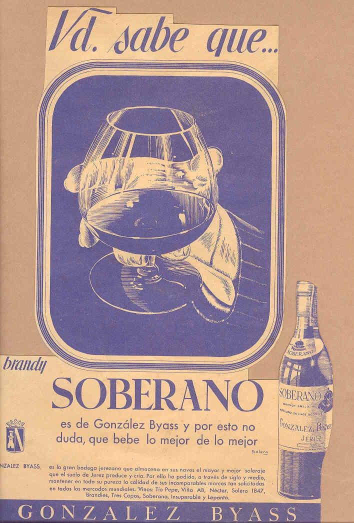 Anuncio en azul del brandy Soberano de González Byass. / González Byass advertisement, in shades of blue, for brandy Soberano.