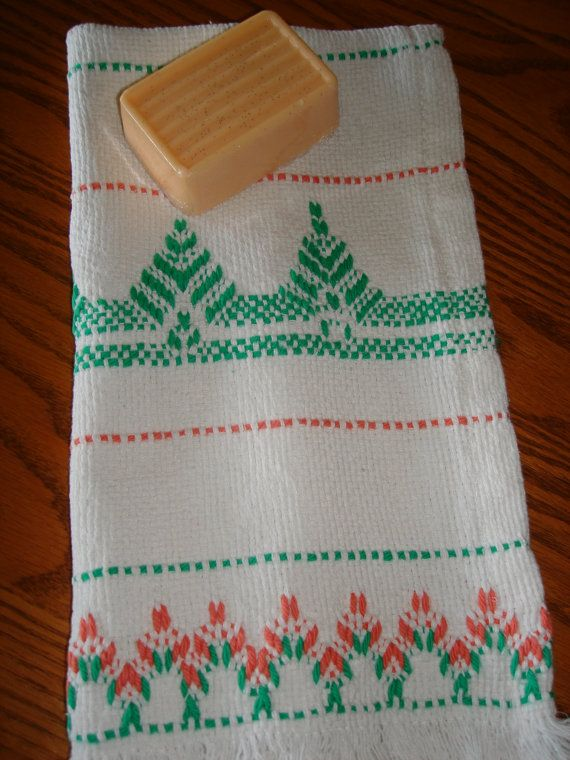 Bathroom Hand Towel -Swedish Huck Weaving - and Handmade Bar Goat Milk Soap -Mango Melon Scented via Etsy