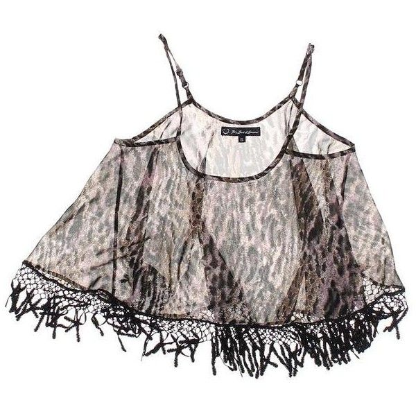 For Love Lemons Sheer Fringed Top (150 MYR) ❤ liked on Polyvore featuring tops, fringe tops, transparent top, sheer top and see through tops