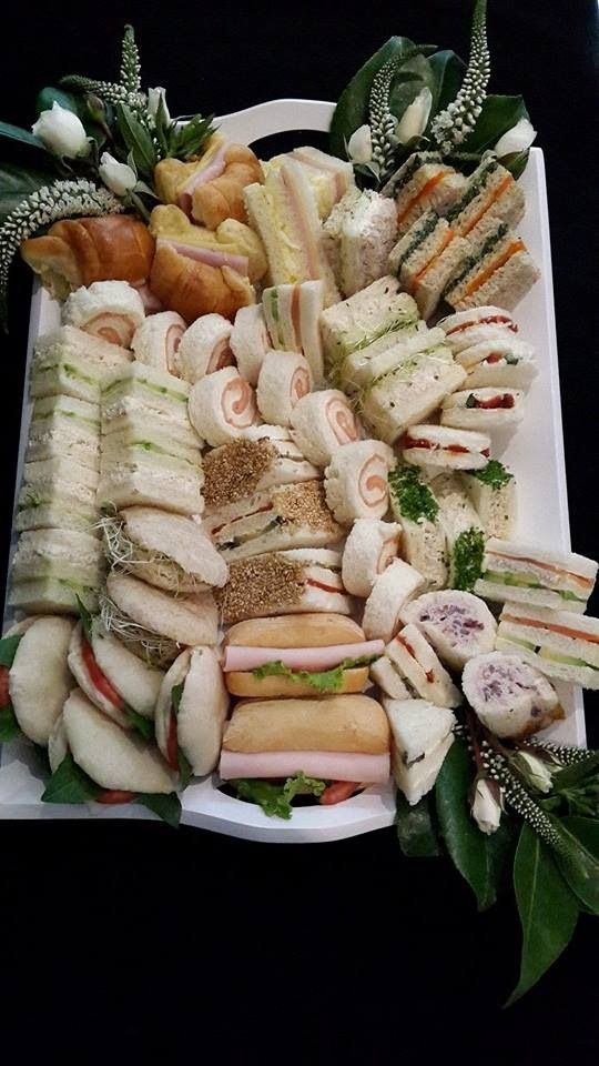 Sandwich platter – I love the variety of shapes ideas for afternoon tea sandwich…