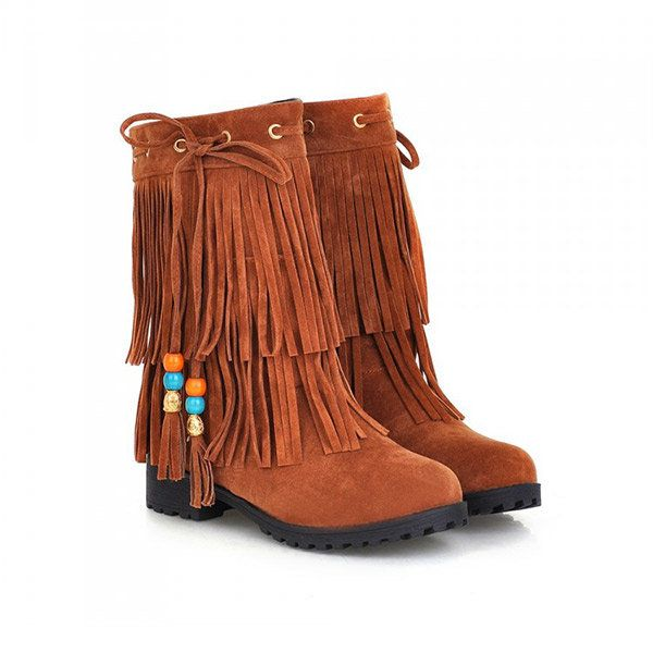Big Size Women Flat Ankle Boots Ladies Tassels Ankle Short Boots Slip On Boots - US$34.87