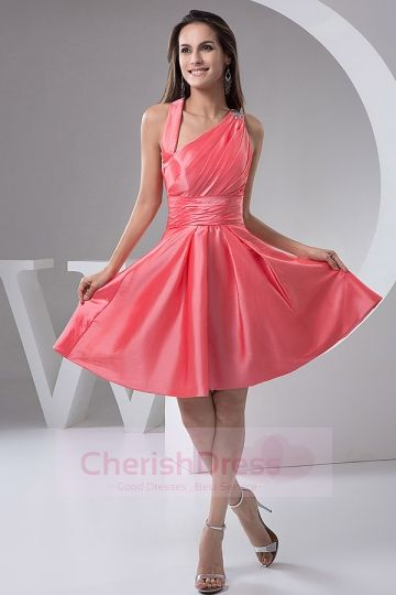 A-Line One Shoulder Zipper-Up Ruffles Cocktail Party Dress  - OCCASION DRESSES