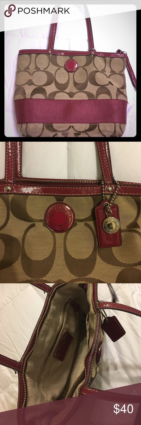 Coach Shoulder Purse Tan and Raspberry Coach purse.  3 interior pockets, one zippered.  1 outside pocket.  Good condition with some normal wear on handles. (Pictured) Very clean. Coach Bags Shoulder Bags