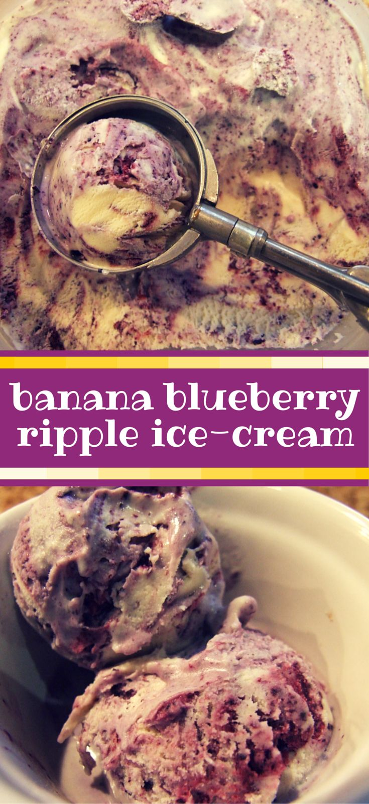 Banana blueberry ripple ice-cream. Smooth and creamy, this gorgeous banana ice-cream is enlivened with a swirl of blueberry puree. Easy to make and utterly delicious! Treat yourself!