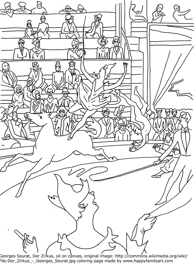 Seurat Le Cirque Famous Paintings Coloring Pages