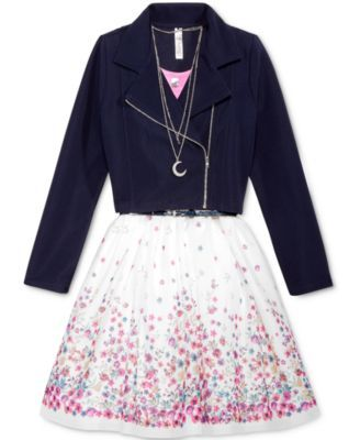 Beautees 3-Pc. Floral-Print Mesh Dress with Jacket & Necklace Set, Big Girls (7-16)