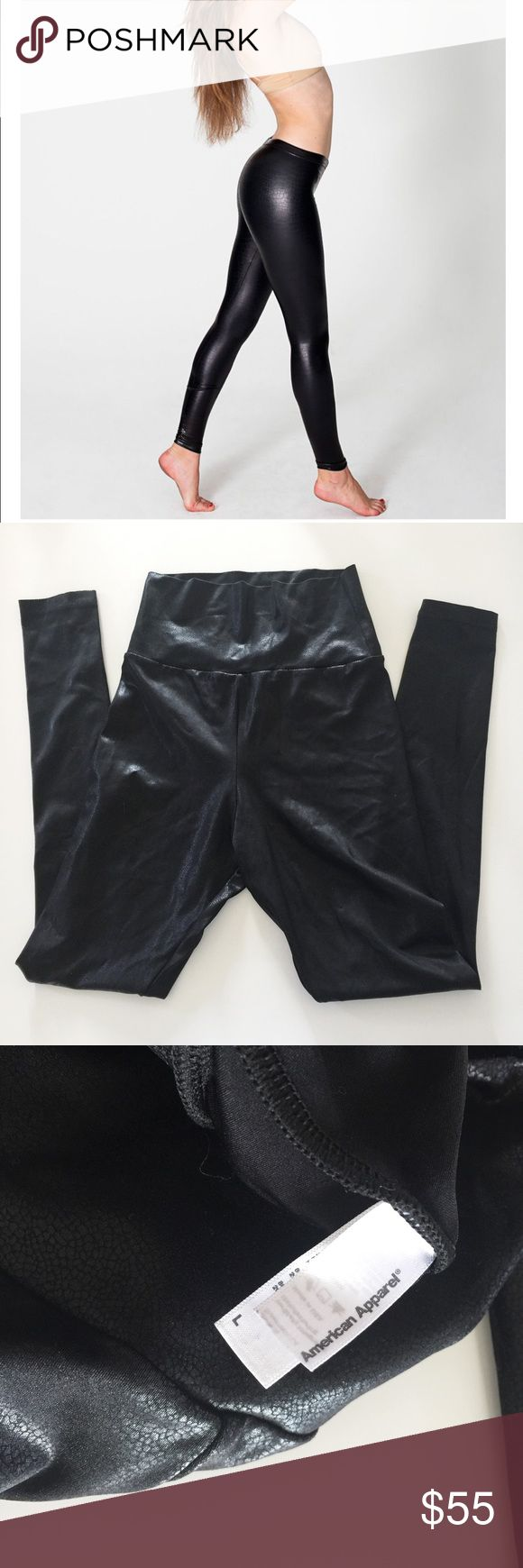 """American Apparel Shiny Leggings in Boa Black Sz L American Apparel Shiny Leggings in The SOLD OUT and no longer available, popular, Boa Black color and texture. Size Large. NWOT. 80% Nylon and 20% Elastane.    """"A slimming silhouette constructed from the same shiny fabrication as the Shiny High-Waist Legging for a soft feel and superior water-wicking lining. The Shiny Legging features a high waist with an elastic waistband, tapered legs, and a perfect sheen. This legging wears true to size…"""