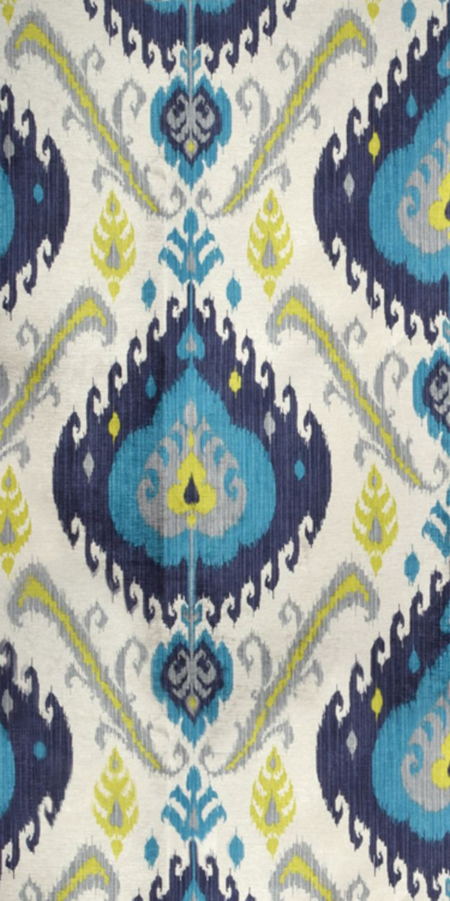 P Kaufmann Samarkand Peacock Fabric  Ikat Decor