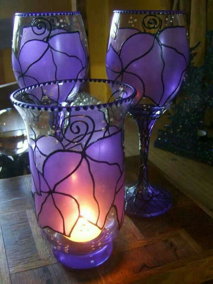 Purple Glasses and Candle Holder