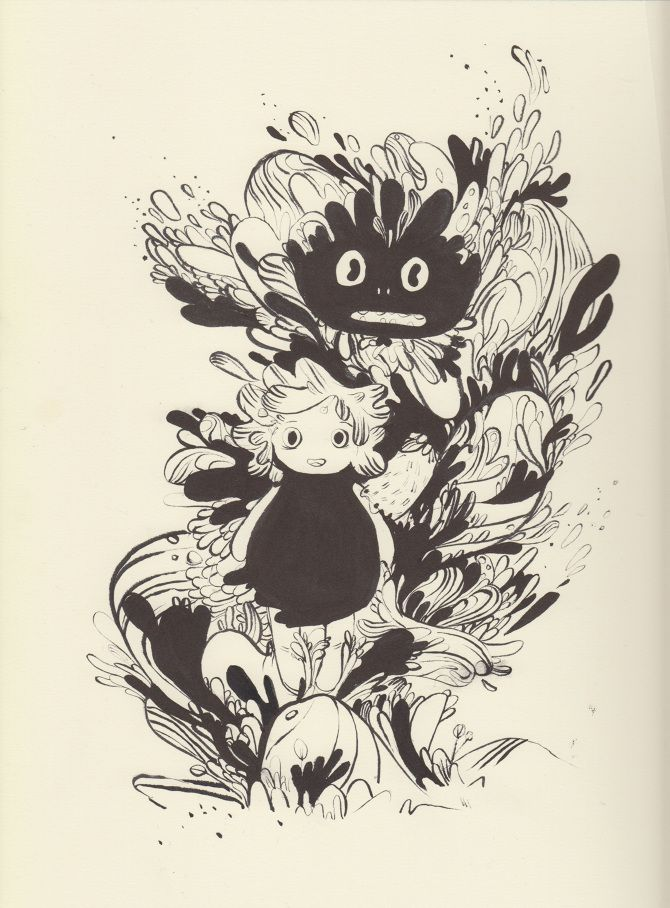 PRE ADVENTURE - Karina Posborg - ink - dragons - creatures - character design - monster - bloob - woobly - artwork - looking ahead