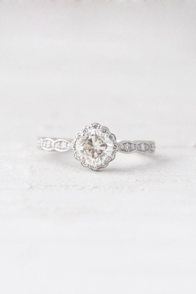 Sparkle Like A Diamond: 12 Moissanite Engagement Rings ❤ See more: http://www.weddingforward.com/moissanite-engagement-rings/ #weddings