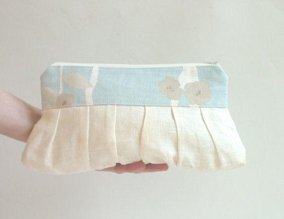 Blue wedding purse linen wedding clutch bridal purse by maplemist