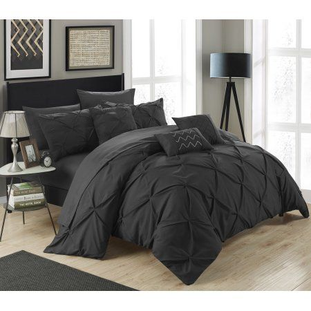 Chic Home 10-Piece Valentina Pinch Pleated, ruffled and pleated complete Queen Bed In a Bag Comforter Set Black