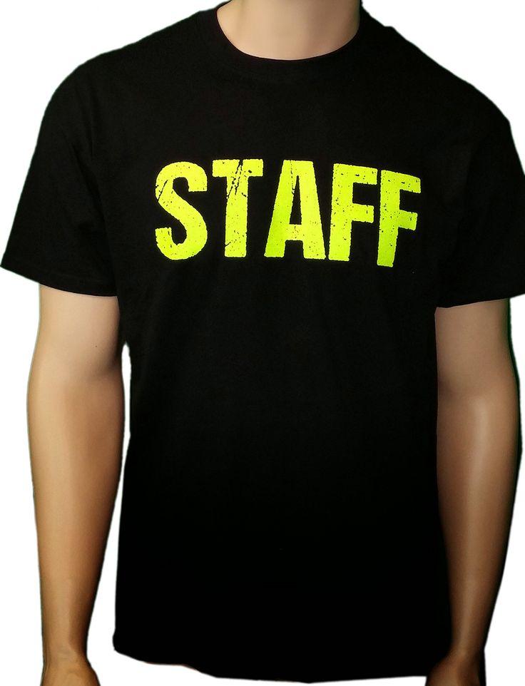 Black Staff T Shirt Front Back Print Mens Event Shirt