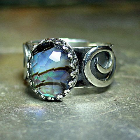 Treasures of Atlantis - Abalone shell under faceted crystal quartz    ...from Lavender Cottage Jewelry