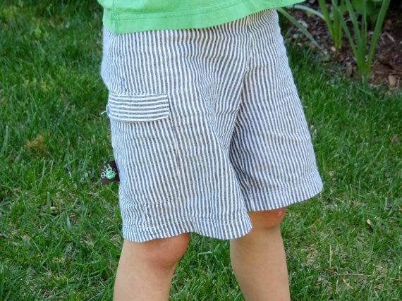 As seen on the Martha Stewart show!  Boys Seersucker Cargo Shorts size 18 mo to 8 years by aBcChildren, $20.00