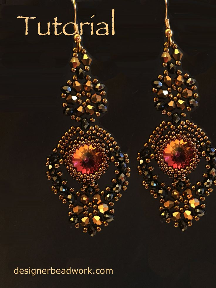 """""""Comparsita"""" Earrings (or use as component)   ~ Seed Bead Tutorials"""