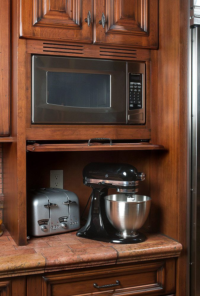 Appliance garage with pull-up door and built-in microwave Add in corner unit for extra cabinet space