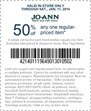 Pinned January 11th: 50% off a single item today at Jo-Ann #Fabric, or online via promo code SGBT011 #coupon via The Coupons App