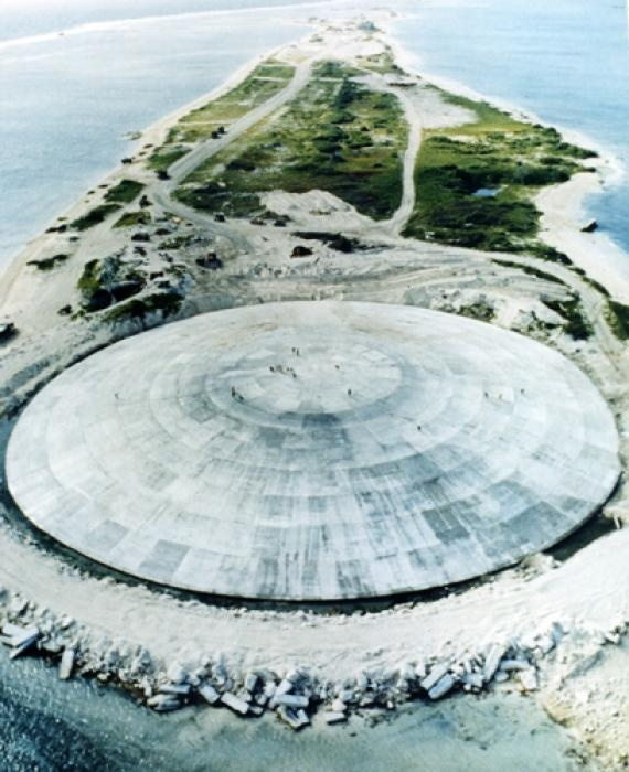 Cactus Dome on the Marshall islands -- perfect example of humanity's self-destructive ways, as it was created to cover up radioactive debri created by nuclear tests between 1946 and 1962. This resulted in  an enormous, foot-and-a-half-thick, 100,000-square-foot dome consisting of 358 gigantic concrete panels, visible from outerspace. #dystopia