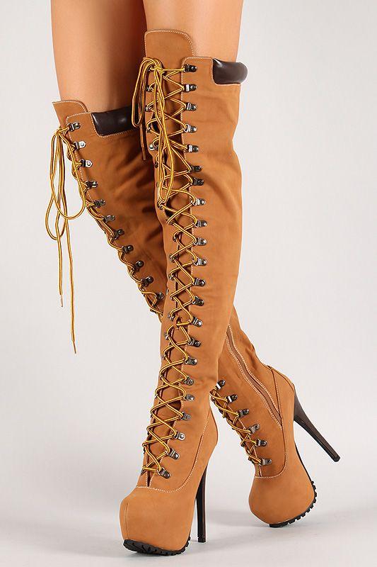 Lace Up Thigh High Platform Work Boot | Boots Baby! | Pinterest ...