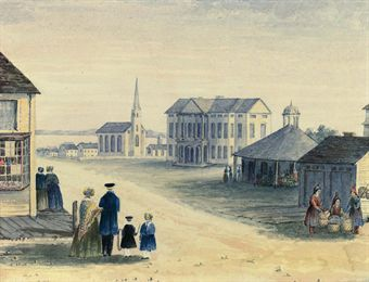 A view of Charlottetown, Prince Edward Island, with the Colonial Building (now Province House), looking towards Northumberland Strait