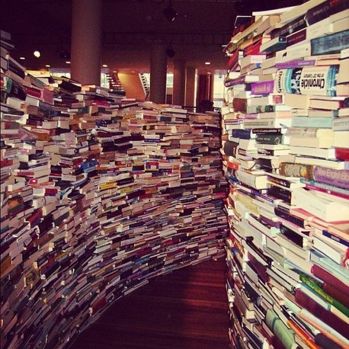 Inside the 'aMAZE me' book maze at the South Bank Centre, London -Wow!
