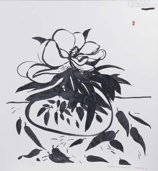 "Brett Whiteley love this carefree, effortless painting ""Magnolia and Blue and White Ching Vase"""
