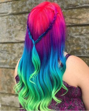 Pink to violet to blue to green multicolor hair Blending -  #blending #Blue #green #hair #mul...