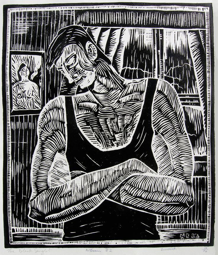 Nigel Brown The Black Singlet (1982) Silkscreen after woodcut 700 x 600mm