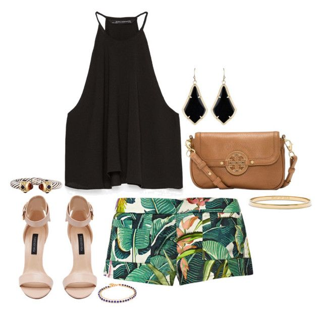 """""""Tropical Oasis Shorts"""" by kathy-andy ❤ liked on Polyvore featuring Zara, Just Cavalli, Forever New, Tory Burch, Kendra Scott, David Yurman, Kate Spade and Astley Clarke"""