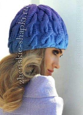 Описание шапки с косами связанной спицами 2016-2017