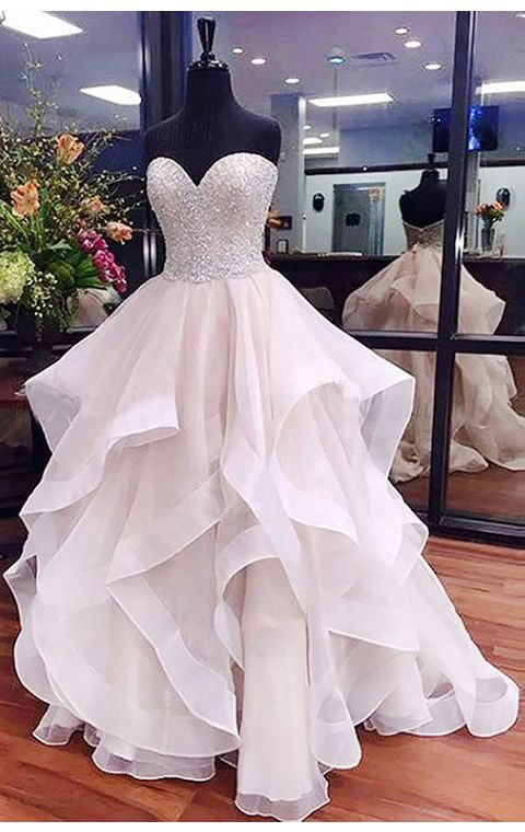 A-Line Prom Dress,Sweetheart Prom Dresses,Asymmetrical Prom Dresses,Ivory Prom Gown,Organza Prom Dress with Lace,Beading Prom Dress #beading #ballgown #sweetheart #Asymmetrical #prom