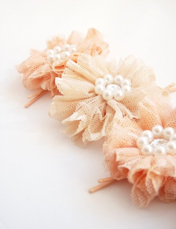 tulle flowers with pearls