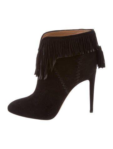 Aquazzura Fringe Ankle Boots